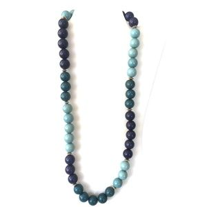 Jewelry - Navy, mint and dark green bead necklace